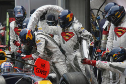 Red Bull Racing team refuels David Coulthard's car