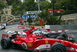 Michael Schumacher overtakes Kimi Raikkonen