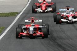 Tiago Monteiro leads Jarno Trulli