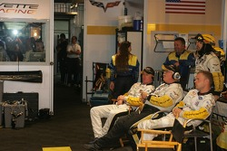 Johnny O'Connell and Jan Magnussen in the Corvette Racing Garage