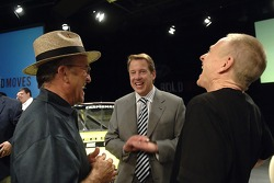 Bill Ford chats with Jack Roush and Mark Martin following an employee pep rally at Ford World Headquarters
