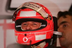 Michael Schumacher with a new helmet
