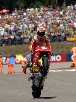 Marco Melandri celebrates second place finish