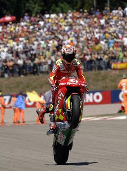 Marco Melandri celebrates second place finish