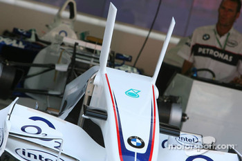 BMW-Sauber F1 Team front wing with fins which have been banned by the FIA