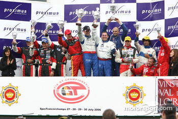 G3 podium: class winners Patrick Chaillet, Laurent Nef, Loc Deman and Christophe Geoffroy, with second place Franois Duval, Christophe Kerkhove, Christian Kelders and Pascal Nelissen-Grade, and third place Gilles Duqueine, Gael Lessoudier, Benoit Rous