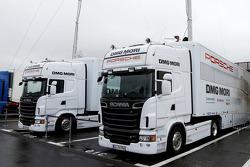 Porsche Team trucks ready for the Prologue