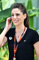 (L to R): Lucia Villalon Puras, TV Reporter and Carmen Jorda, Lotus F1 Team Development Driver