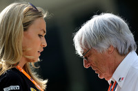 Carmen Jorda, Lotus F1 Team Development Driver and Bernie Ecclestone,