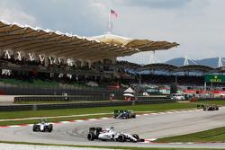 Felipe Massa, Williams FW37 leads team mate Valtteri Bottas, Williams FW37