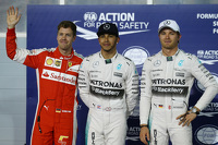 Pole for Lewis Hamilton, Mercedes AMG F1, 2nd for Sebastian Vettel, Ferrari SF15-T and 3rd for Nico Rosberg, Mercedes AMG F1 W06