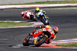 Marc Marquez, Repsol Honda Team and Valentino Rossi, Yamaha Factory Racing and Andrea Dovizioso, Ducati Team