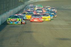 Kyle Busch leads a restart