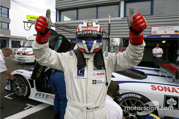 Pole winner Jarek Janis celebrates