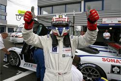 Pole winner Jarek Janis celebrates