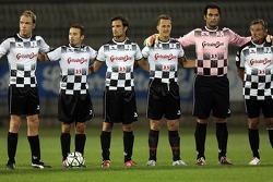 National drivers charity football match at Stadio Brianteo Stadio Brianteo: Robert Doornbos, Max Biaggi, Vitantonio Liuzzi, Michael Schumacher, Matteo Munari and Ricardo Patrese