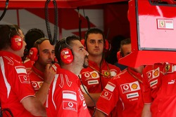 Scuderia Ferrari team members watch the session