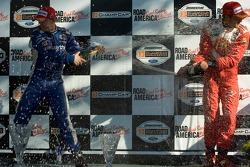 Podium: champagne for A.J. Allmendinger and Sébastien Bourdais