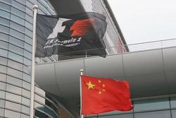 Chinese and Formula 1 flags at the circuit