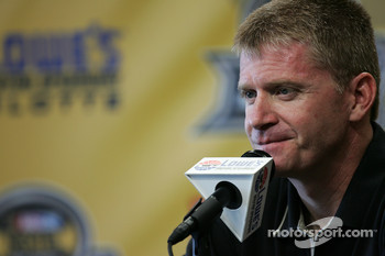 Jeff Burton talks with the media