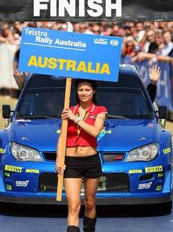 A charming Rally Australia girl at the podium