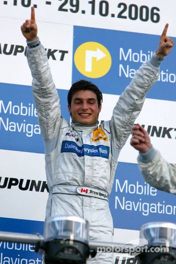 Podium: race winner Bruno Spengler celebrates