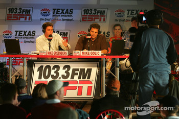 Mike Greenberg and Mike Golic do their ESPN Radio/ESPN show from Texas Motor Speedway on Friday morning