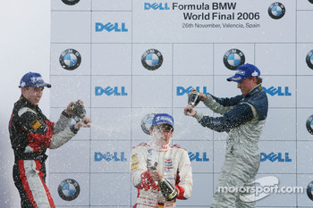 Podium: champagne for Christian Vietoris, Josef Kral and Mika Maki