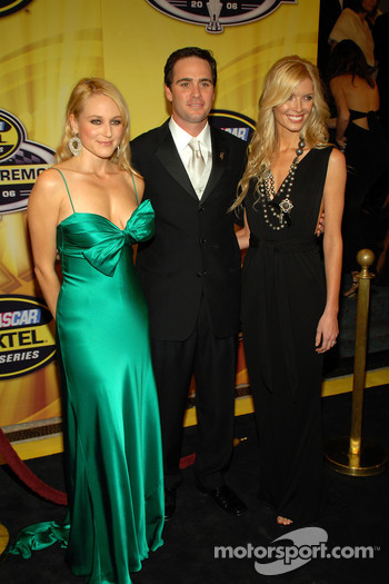 Singer Jewel poses with Jimmie and Chandra Johnson on the red carpet prior to the 2006 NASCAR NEXTEL Cup Series Awards Ceremony