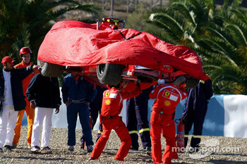 The Ferrari of Luca Badoer is recovered