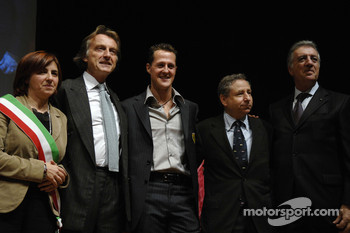 Lucia Bursi, Luca di Montezemolo, Jean Todt and Piero Ferrari