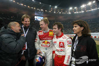 Race of Champions winner Mattias Ekstrm celebrates with Sbastien Loeb, Michle Mouton and Fredrik Johnsson