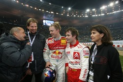 Race of Champions winner Mattias Ekström celebrates with Sébastien Loeb, Michèle Mouton and Fredrik Johnsson