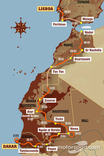 Overall map: 15 stages, from 2007-01-06 to 2007-01-21, Lisboa to Dakar