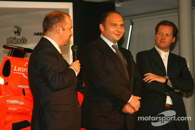 Mike Gascoyne, Spyker F1 Team, Chief Technology Officer, Colin Kolles, Spyker F1 Team, Team Principal and Michiel Mol, Director of Formula One Racing, Spyker and Spyker F1 Team