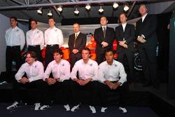 Adrian Sutil, Christijan Albers, James Key, Mike Gascoyne, Colin Kolles, Michiel Mol, Victor Muller, Markus Winkelhock, Adrian Valles, Giedo van der Garde and Fairuz Fauzy