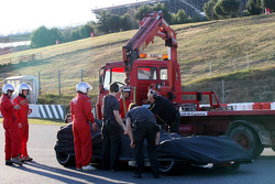 Fernando Alonso stops on track