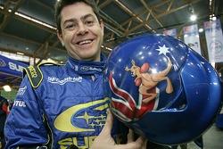 Glenn Macneall with his helmet