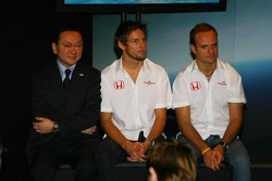 Yashurio Wada, Honda Racing Development Ltd, President, Jenson Button and Rubens Barrichello