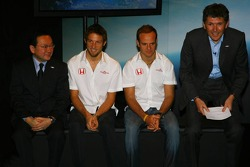 Yashurio Wada, Honda Racing Development Ltd, President, Jenson Button, Rubens Barrichello and Nick Fry, Honda Racing F1 Team, Chief Executive Officer