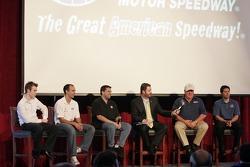 C.R. Crews, Darren Manning, Tony Stewart, Eddie Gossage, A.J. Foyt Jr. & Larry Foyt share the stage at Media Day at Texas Motor Speedway