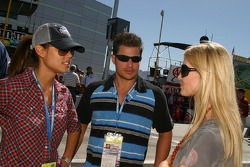 Vanessa Minillo and Nick Lachey talk with Chandra Johnson, wife of NASCAR NEXTEL Cup Series driver Jimmie Johnson