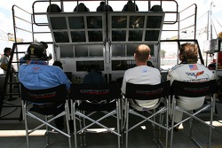 Jan Magnussen and Olivier Beretta watch the session in the Corvette Racing pit area