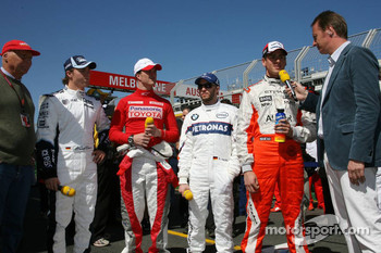 RTL Interview - Niki Lauda, Nico Rosberg, WilliamsF1 Team, Ralf Schumacher, Toyota Racing, Nick Heidfeld, BMW Sauber F1 Team, Adrian Sutil, Spyker F1 Team, Heiko Wasser