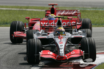 Lewis Hamilton and Felipe Massa battle