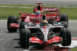 Lewis Hamilton and Felipe Massa battle