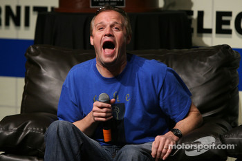NASCAR NEXTEL Cup driver Kenny Wallace reacts to a story during the Fandango Exclusive Season Ticket Holders party at Texas Motor Speedway
