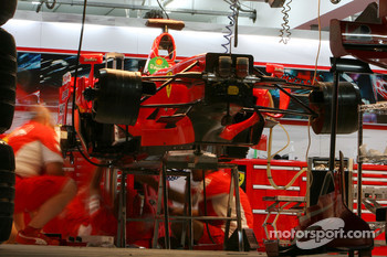 Scuderia Ferrari work into the night