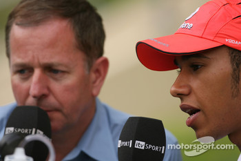 Martin Brundle, ITV, and Lewis Hamilton, McLaren Mercedes