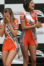 Podium: champagne soaked Champ Car girls
